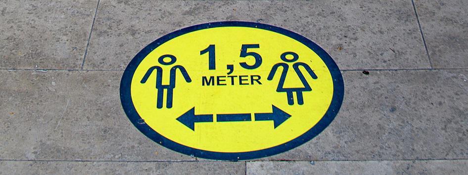 Waarschuwingssticker 1,5 meter afstand houden