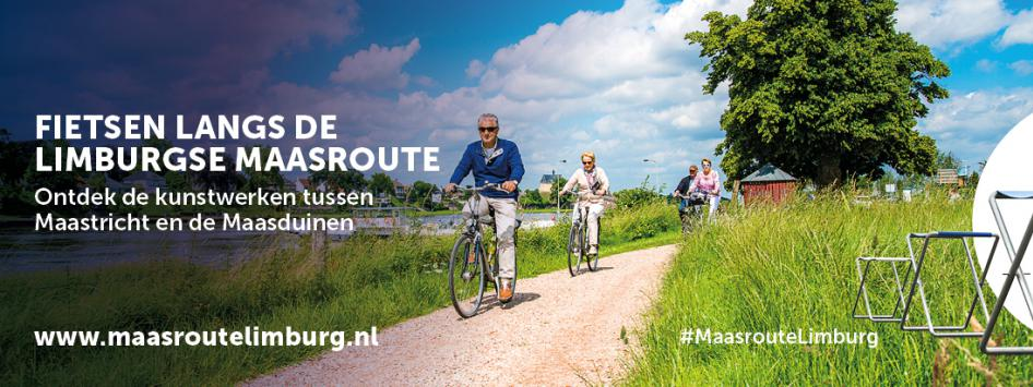Kaart met Maasfietsroute Limburg traject